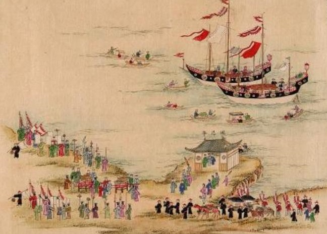Sapposhi visiting, with a Ryukyuan welcome escort on the shore.