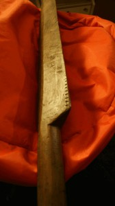 At least 50 years old, this ueku (oar) is heavy duty. It was sued to test the Bōzooka. Successfully.