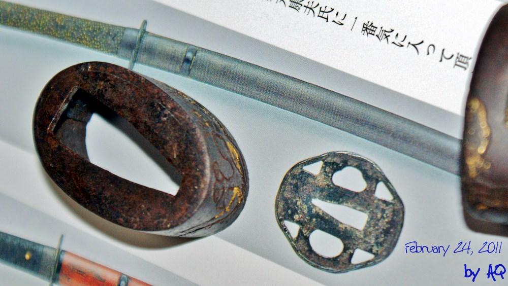 Studying sword fittings at Hamamoto Hisao Sensei's home, February 24, 2011