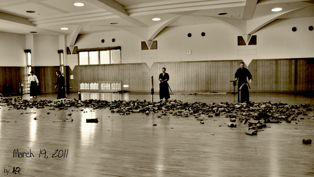 Hacking it away at Hamamoto sensei's monthly cutting day (battokai), March 19, 2011 at Okinawa Prefectural Budokan.