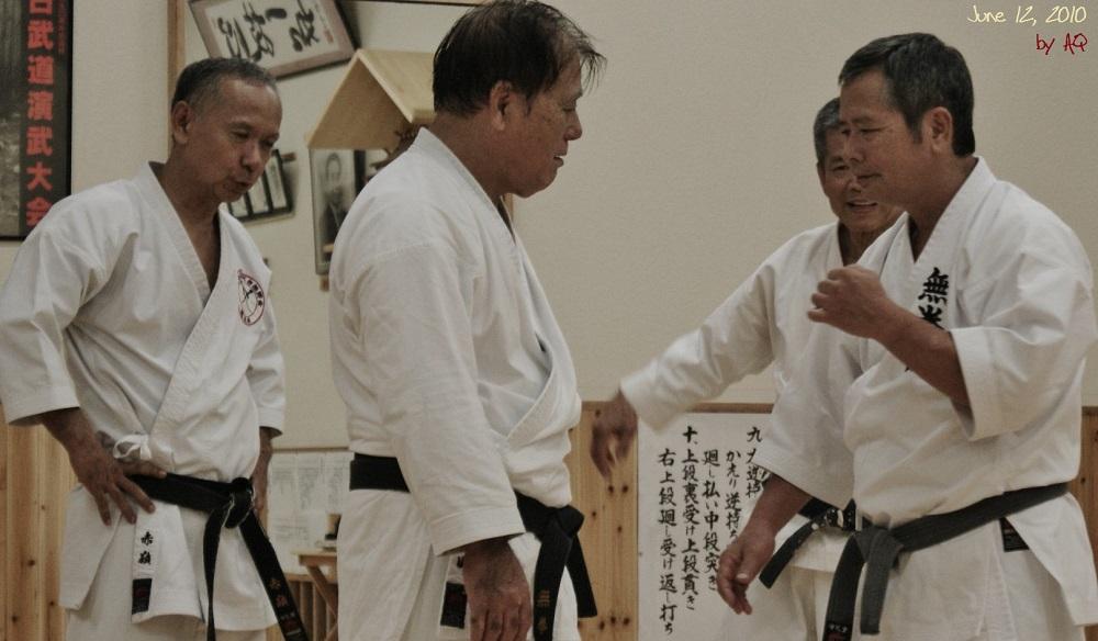 June 12, 2010. Mukenkan seniors practicing at Shinbukan Honbu dojo in Tomigusuku. Left to right: Senseis Akamine, Sawada, Miyahira, Onaga.