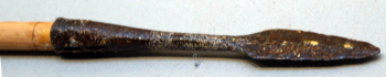Spearhead of yamashishi-yai (wild boar spear) or puku. Photo by A. Quast: Okinawa Prefectural Museum, May 2009.