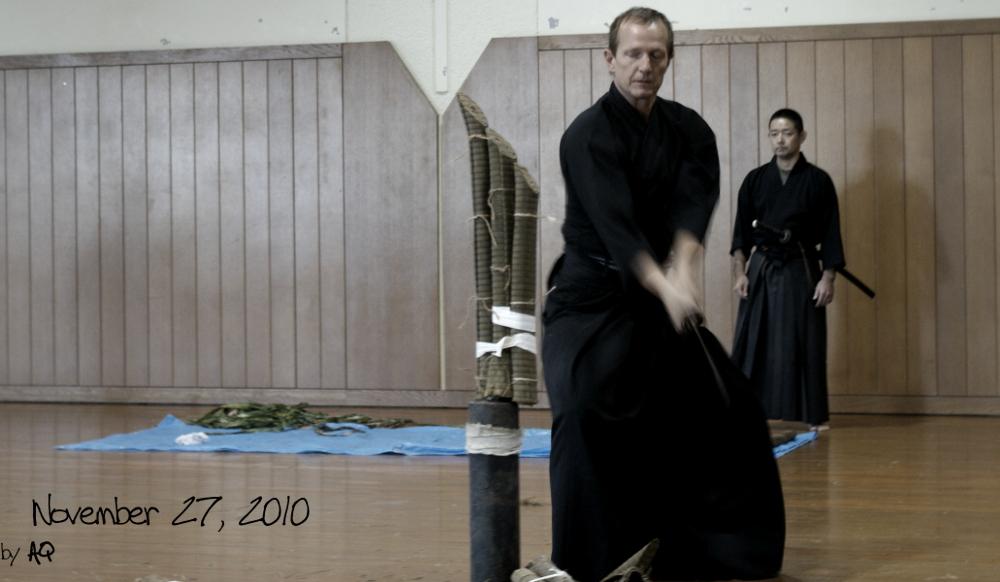 Hamamoto Sensei's cutting day (battokai), November 27, 2010 at Okinawa Prefectural Budokan.