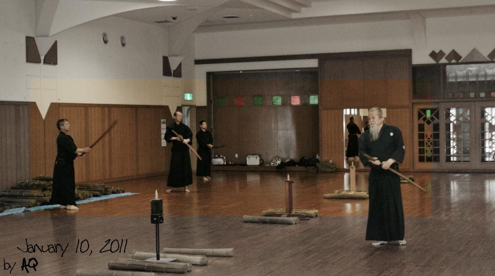 Hamamoto Sensei's cutting day (battokai), January 10, 2011, at Okinawa Prefectural Budokan.