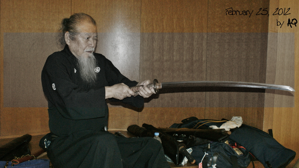 Hamamoto Sensei's cutting day (battokai), February 25, 2012, at Okinawa Prefectural Budokan.