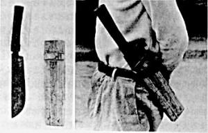 写真:山鉈とそのさし方(石垣市川平)。沖縄大百科事典(下)1983より。