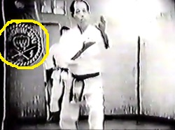 Matsubayashi-ryu footage, probably shot during 1969 or 1976, showing Nagamine Shoshin and in the back the insignia (snapshot from film posted by Angel Lemus on facebook).