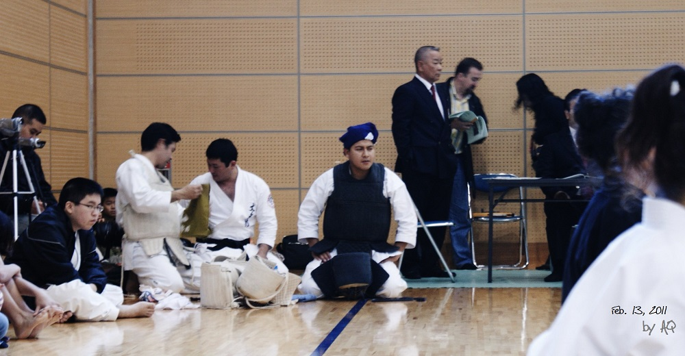 Memo Aparicio Tejeda just prior to his bout during the first kumibo tournament of the Okinawa Traditional Kobudo Association was held February 13, 2011.