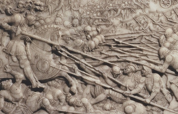 Battle of Marignano: This depiction of his victory at Marignano in 1515 adorns the grave of Francis I (François Ier) of France. During an attack with his lance he led his knights against Swiss pikemen and field artillery.