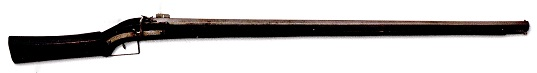 Matchlock, 1540, Italy. Weight 3.5 kg. Barrel length 105 cm. caliber 12mm. Henry VIII. ordered 1500 of these muskets in 1544 in the republic of Venice. Some of them were on board his flagship Mary Rose when it sank in the following year. In experiments a modern replica was able to penetrate up to 6 mm steel from almost 30 m distance.