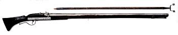 Matchlock musket, Britain, around 1650. Weight 6,05 kg. Barrel length 126 cm. Caliber 19 mm.