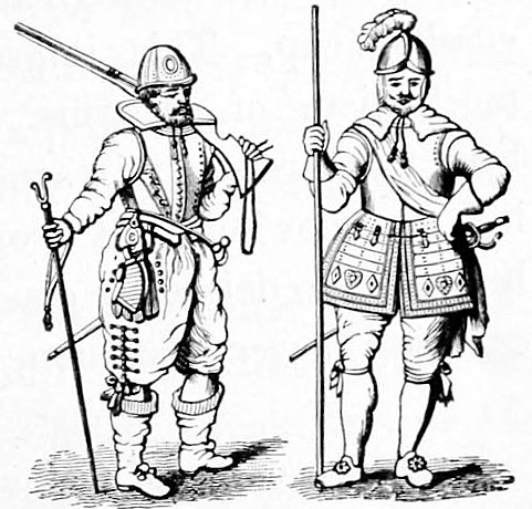Musketeer and pikemen, early 17th century. From: Piercy, Willis Duff: Great Inventions and Discoveries, 1911.