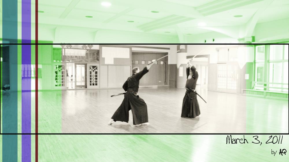 Hamamoto Sensei (r.) teaching the application of Nuki-migi Kiri-sage to Koen Frerat from Belgium. March 3, 2011.