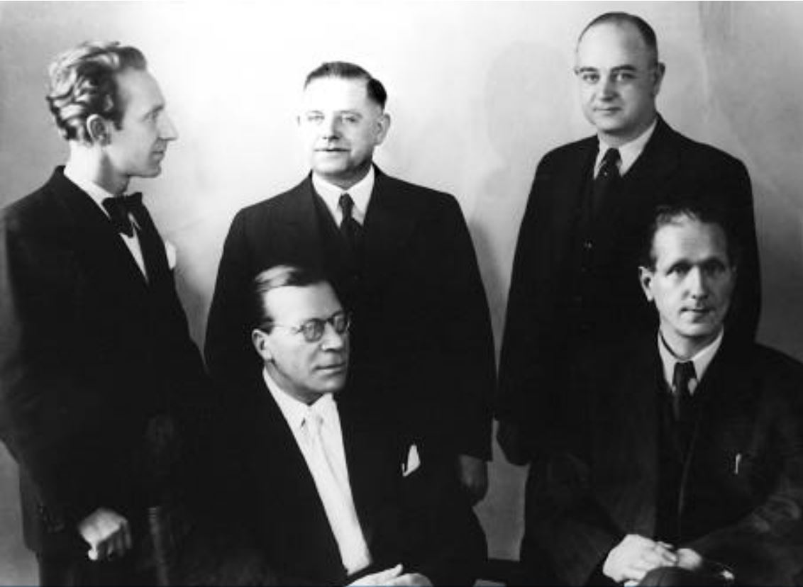 Standing from left to right: Aloys Odenthal, Ernst Klein, Josef Lauxtermann. Seated from left to right: Dr. August Wiedenhofen, Dr. Karl Müller