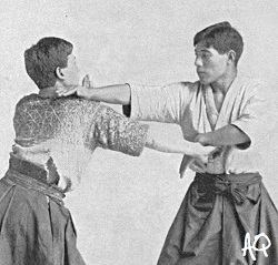 """Defense of a blow against the neck and a strike against the stomach."" Dschiu-Dschitsu, 1905."