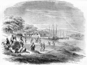 Salt drying field at Tomari. From: Hawks, Francis L.: Narrative of the Expedition of an American Squadron to the China Seas and Japan, performed in the years 1852, 1853, and 1854, under the command of Commodore M. C. Perry etc. 1857 (opposite page 362)