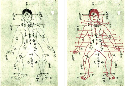 In three different articles the Ogura-print-edition uses the same illustrations, which is a picture traced from Mabuni's 36 vital point diagram. Left side: Original, right side the Ogura trace placed over it in red (Cf. Mabuni page 142; Ogura-print-edition 20, 27, 105)