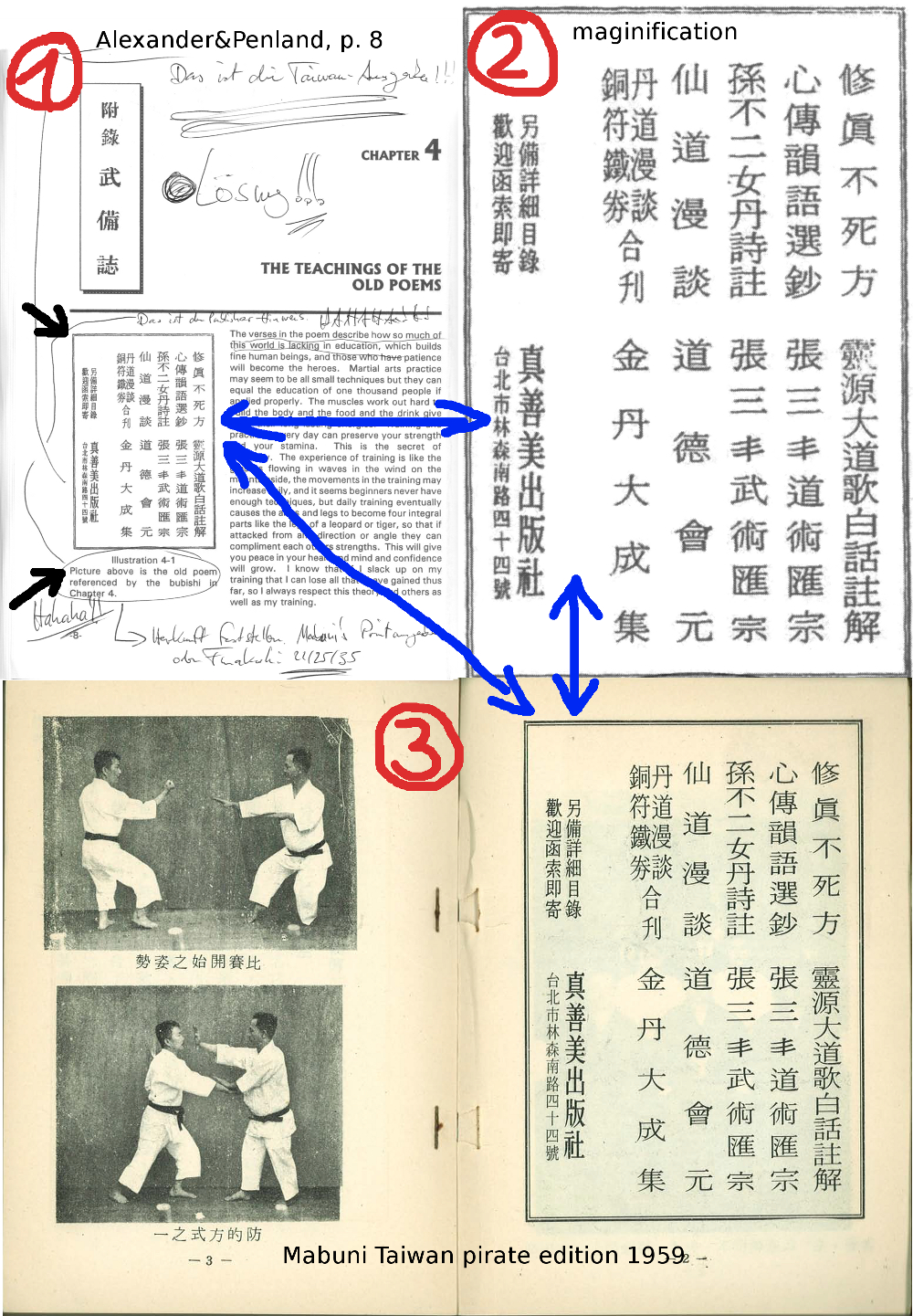 "Illustration ""old poem referenced by the bubishi"", which in fact shows publication data found on page 2 of the 1959 Taiwan pirate edition of Mabuni Kenwa's 1934 work."