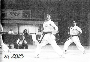 October 1998, the Japanese team winning the Women's Team Kata Competition at the 14th WKF Karate World Championships held in Brazil.
