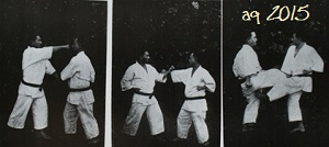 Three of twenty-eight photos of Taira Shinken with Mabuni Kenwa, performing Kata Bunkai. From Mabuni Kenwa's Karate-dō Nyūmon (Karate-jutsu Kyōhan) of 1938.