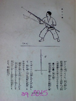 Page from Nagamine Shōshin's original edition of the 1938 Karate-dō Taikan, photographed with permission of Nagamine Takayoshi in Naha, 2008. The illustration shows Taira Shinken with a move from Shūshi no Kon (Koshiki), describing the hidden thrust in the Soto-uke movement.