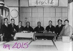 from left to right: Toyama Kanken, Ōtsuka Hironori, Shimoda Takeshi, Funakoshi Gichin, Motobu Chōki, Mabuni Kenwa, Nakasone Genwa and Taira Shinken. From Funakoshi Gichin: Karate-dō Ichiro, 1956.