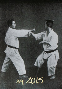 One of twenty-eight photos of Taira Shinken with Mabuni Kenwa, performing Kata Bunkai. From Mabuni Kenwa's Karate-dō Nyūmon (Karate-jutsu Kyōhan) of 1938.