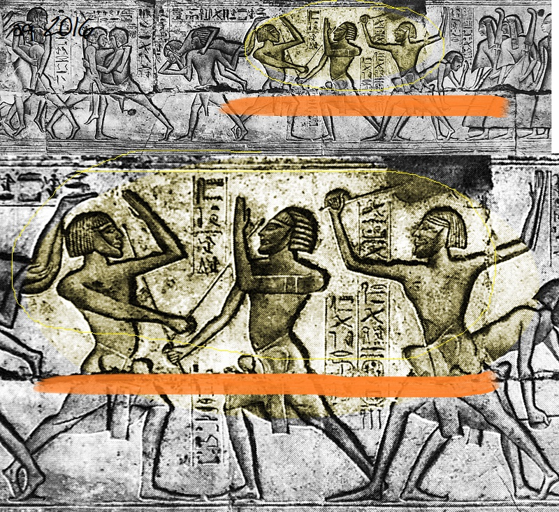 "Stick fencer representations under the ""Window of Appearance"" (or snapshot of life) of Ramses III."