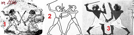 Fencing scenes - left: two fencing soldiers, sketch on an ostracon; right: Stock Fechter front of a chapel to the cult statue of King Tuthmosis III.