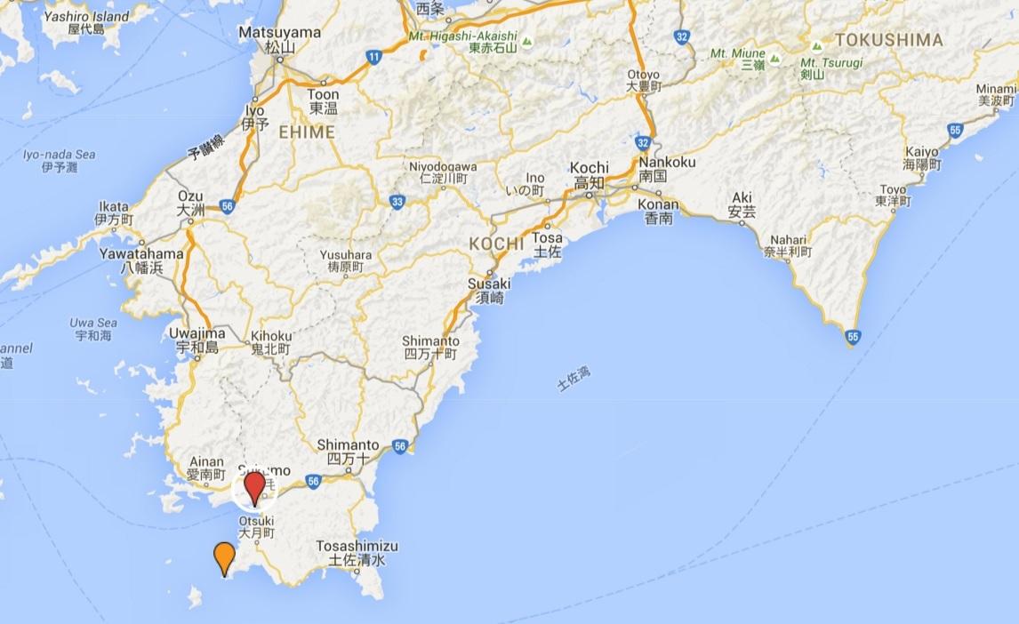 Locations of Oshima Kashiwajima in (orange) and Ōshima (green) in today's Kōchi Prefecture, Shikoku, Japan.