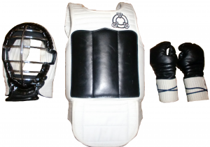 Bōgu used in the Renshinkan (Zen Nihon Shōrin-ji-ryū Karate-dō Renmei). It is the oldest type used in Bōgu-tsuki Karate (except Kendō Bōgu, Baseball or other borrowed protective equipment). From left: head protector (men 面), chest protector (dō 胴), hand protector (kote 小手). Sometimes shin guards are also used.