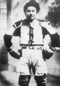 Taira Shinken wearing bōgu, according to Nakamoto Masahiro around 1932.