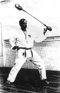 Gushiken Shijin invented the training tool shown here by Dr. Bernie Weiss. Gushiken sensei explained the construction, and demonstrated the use, of this training aid to Bernie and Hilda Weiss during their stay in Naha, Okinawa. Bernie Weiss made several of these, varying in size and weight, for use by his Topanga-Valley Karate School students.