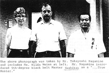 "Photo taken by Nagamine Takayoshi sensei, who introduced Gushiken as a ""... true master."""