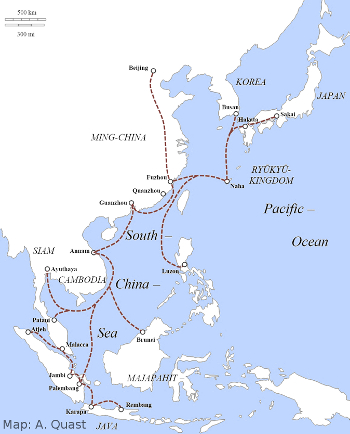 Ryūkyūan trade routes (end of fourteenth to middle sixteenth century). After China lifted her maritime trade prohibition (haikin), which lasted from 1371 to 1567. Portugal and Spain rushed into Asia. Ryūkyū's role as an intermediary weakened. As a result overseas travels of Chinese and Japanese seamen and merchants increased in the waters once engrossed by Ryūkyūan ships.