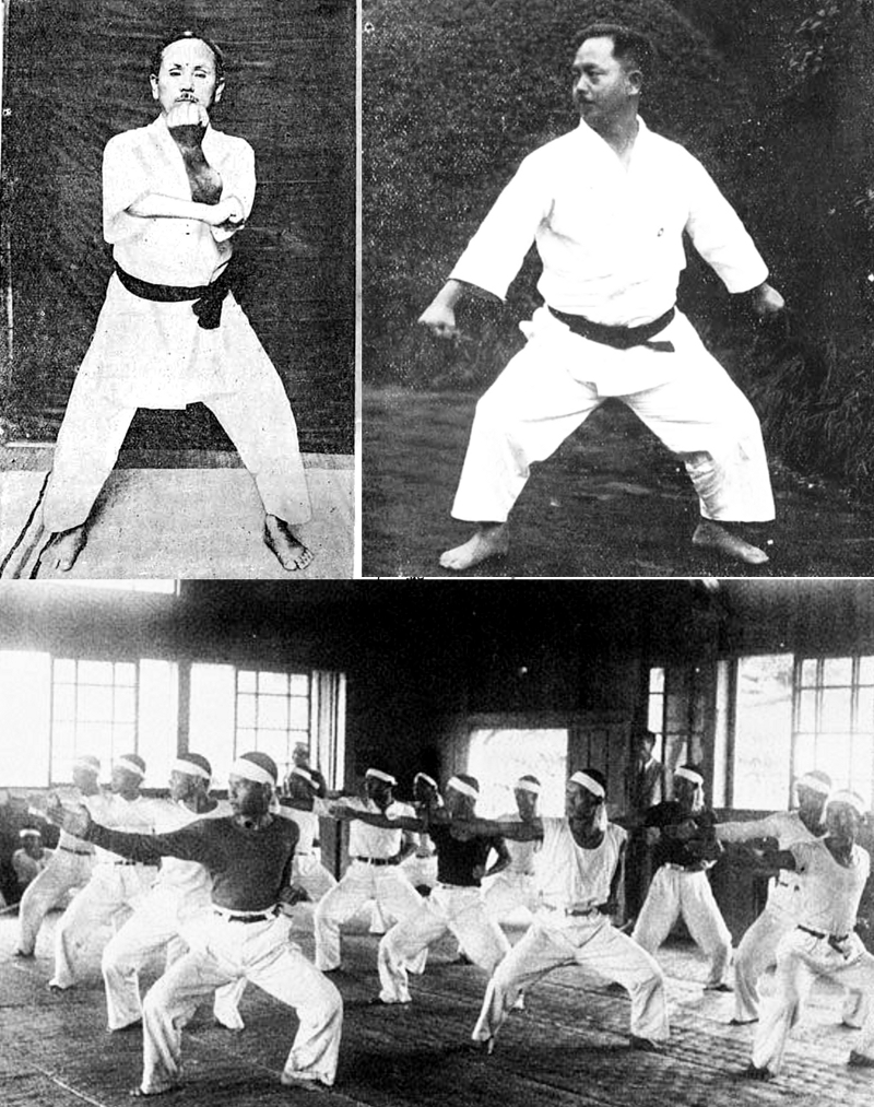 Upper left: Funakoshi Gichin teaching Naihanchi. Upper right: Mabuni Kenwa. Bottom: Yabu Kentsu teaching Naihanchi.