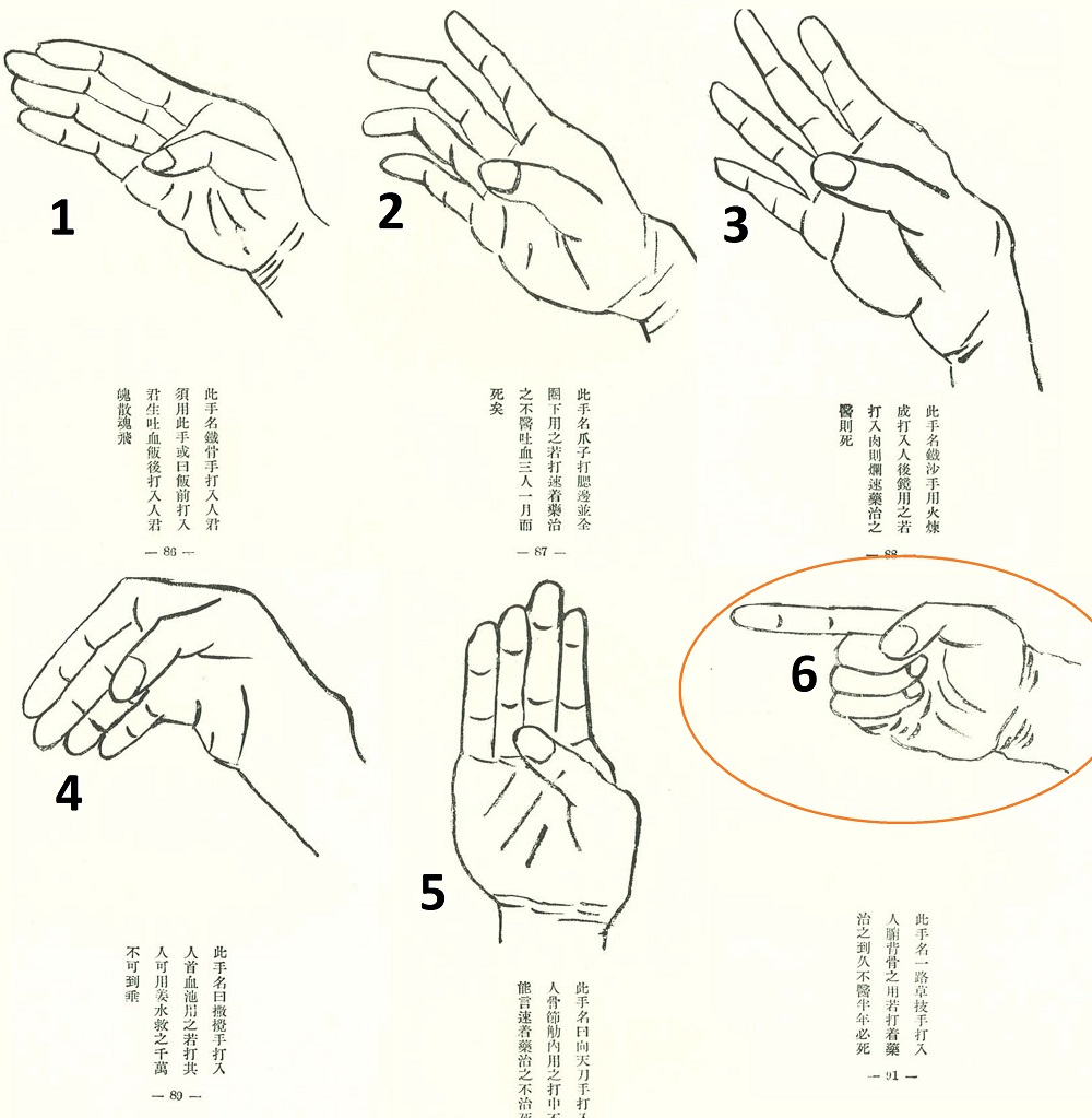 "6 Hands of the Bubishi from Mabuni Kenwa's 1934 book ""SEPAI NO KENKYŪ"""