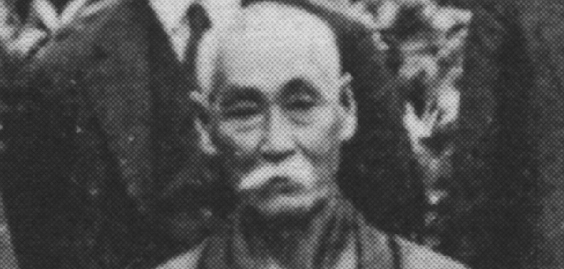 Hanashiro Chōmo 花城長茂 (1869–1945) on a photo taken in 1937 in commemoration of the meeting of the Okinawa Prefecture Karate-dō Promotion Society (沖縄県空手道振興協会).